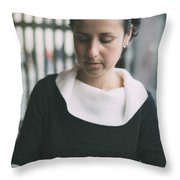 Young Woman In Bar Throw Pillow