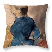 Young Woman In Blue Throw Pillow