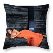 Young Woman In Long Orange Dress Throw Pillow