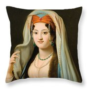 Young Woman In Traditional Ottoman Clothes Throw Pillow