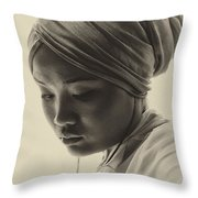 Young Woman In Turban Throw Pillow