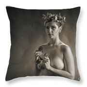 Young Woman Nude 1729.553 Throw Pillow