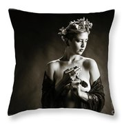Young Woman Nude 1729.554 Throw Pillow