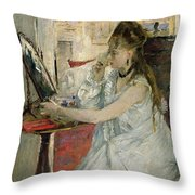 Young Woman Powdering Her Face Throw Pillow