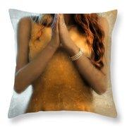 Young Woman Praying Throw Pillow by Jill Battaglia