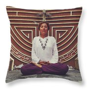 Young Woman Sitting And Meditating In A Lotus Position In Front Of A Unique Doors Throw Pillow
