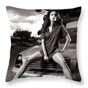 Young Woman Sitting On A Crashed Car Throw Pillow