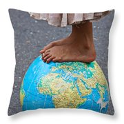 Young Woman Standing On Globe Throw Pillow