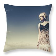 Young Woman Standing On The Beach Throw Pillow