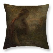 Young Woman Under A Tree At Sunset Throw Pillow