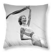 Young Woman Waving Scarf, C.1950-60s Throw Pillow