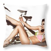Young Woman Wearing A Swimsuit Throw Pillow