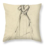 Young Woman With A Broom Throw Pillow