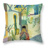 Young Woman With A Horse And A Donkey Throw Pillow