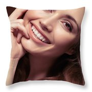 Young Woman With A Natural Smile Throw Pillow