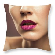Young Woman With Flawless Makeup Throw Pillow
