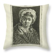 Young Woman With Hat And Curly Hair Throw Pillow