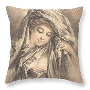 Young Woman With Her Head Covered Throw Pillow