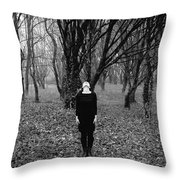 Young Woman With Her Head Tilted Back While Standing In A Forest Throw Pillow