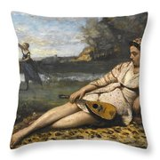 Young Women Of Sparta By Jean-baptiste-camille Corot, 1868-1870. Throw Pillow