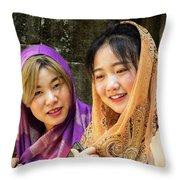 Young Women Silk Scarves 01 Throw Pillow
