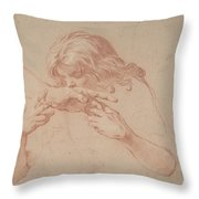 Youth Kissing An Outstretched Hand Throw Pillow