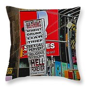 You've Been Warned Throw Pillow