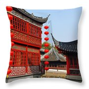 Yu Gardens - A Classic Chinese Garden In Shanghai Throw Pillow