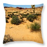 Yucca And Desert Primrose In The Valley Of Fire Throw Pillow