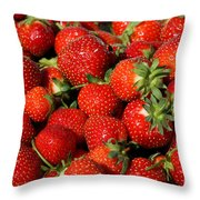 Yummy Fresh Strawberries Throw Pillow