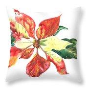 Yupo Poinsettia Throw Pillow