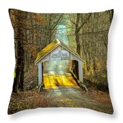 Zacke Cox Covered Bridge Throw Pillow