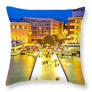 Zadar Colorful Blue Evening View Throw Pillow