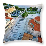 Zadar Forum Square Ancient Architecture Aerial View Throw Pillow