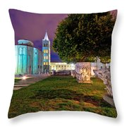Zadar Historic Square Evening View Throw Pillow