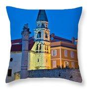 Zadar Landmarks Evening Vertical View Throw Pillow