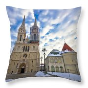 Zagreb Cathedral Winter Daytime View Throw Pillow
