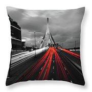 Zakim Bridge And Td Garden Boston Ma Red Tail Lights Throw Pillow