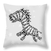 Zebra Black Star Throw Pillow