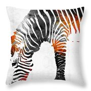 Zebra Black White And Red Orange By Sharon Cummings  Throw Pillow