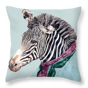 Zebra Blue Throw Pillow