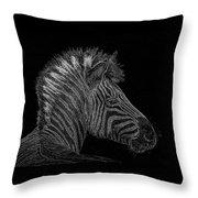 Zebra Computer Drawing Throw Pillow