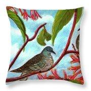 Zebra Doves Or Barred Dove Birds #309 Throw Pillow