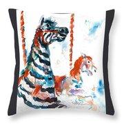 Zebra Gets A Ride The Ocean City Boardwalk Carousel Throw Pillow