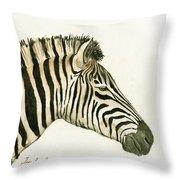 Zebra Head Study Painting Throw Pillow