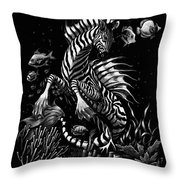 Zebra Hippocampus Throw Pillow
