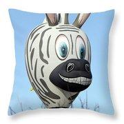 Zebra Hot Air Balloon At Balloon Fiesta Throw Pillow