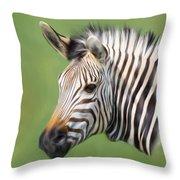 Zebra Portrait Throw Pillow by Trevor Wintle