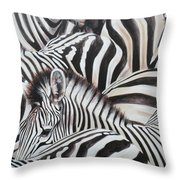 Zebra Triptyche Middle Throw Pillow