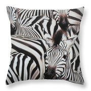 Zebra Triptyche Right Throw Pillow